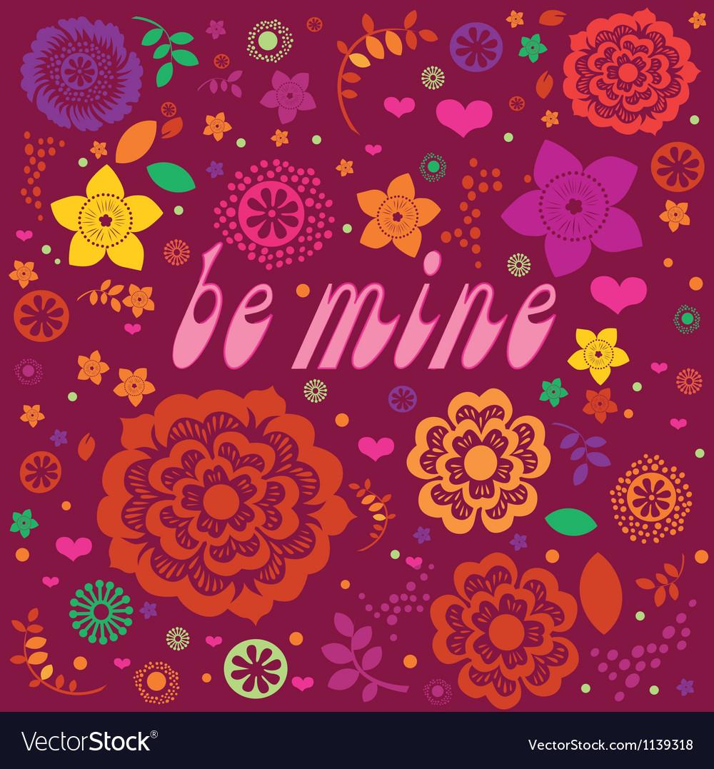 Floral ornamental valentine poster