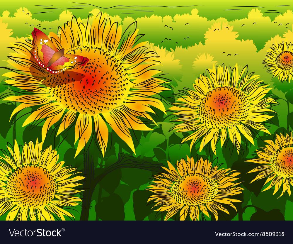 Garden of Sunflowers Sketch