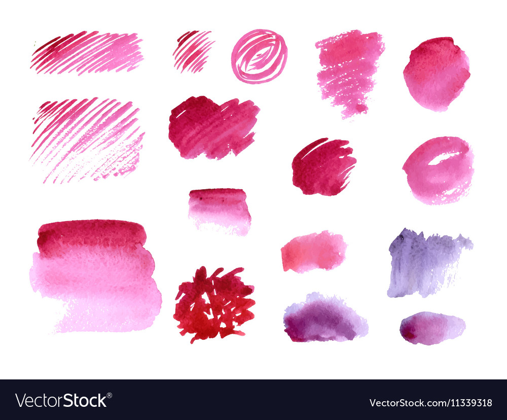 Handmade watercolor texture collection of pink