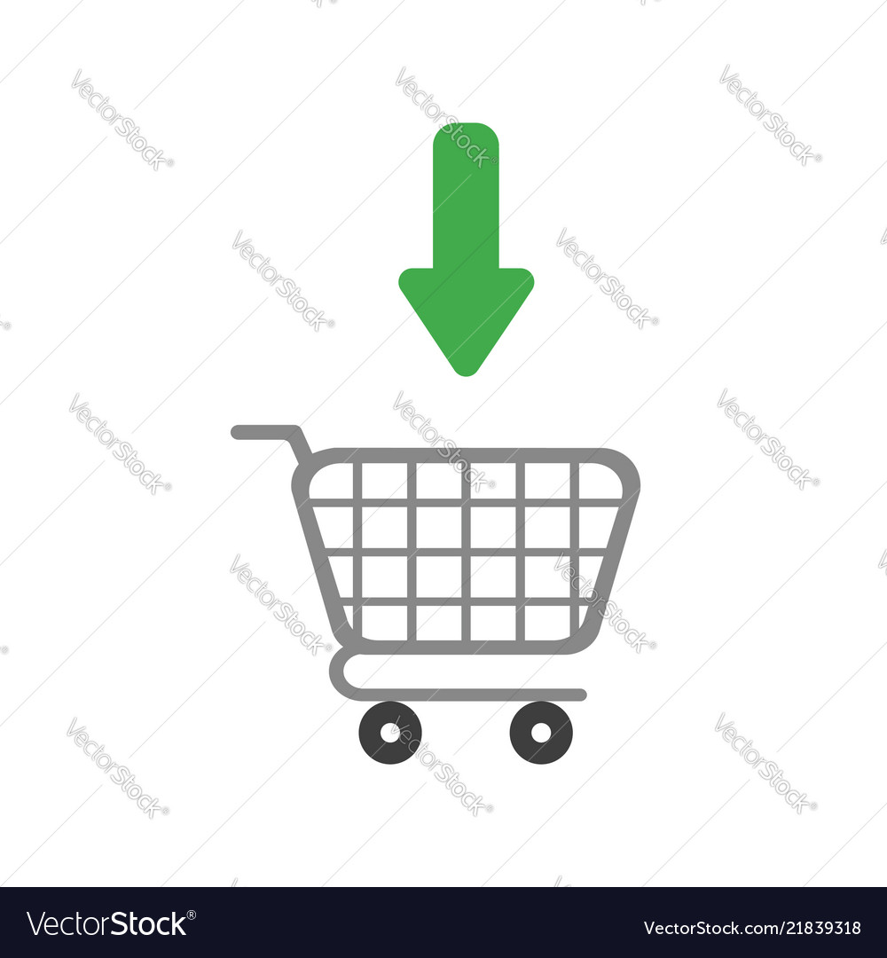 Icon concept of arrow moving inside shopping cart