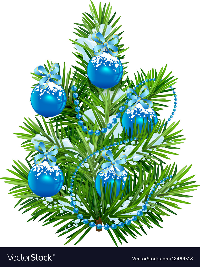 Little Christmas Tree With Blue Balls And Garland