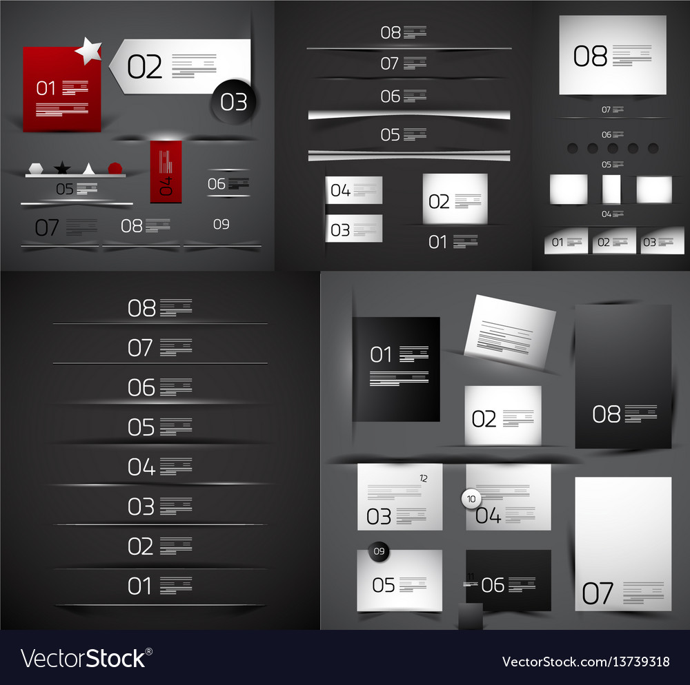 Mega collection of blank paper web boxes vector image