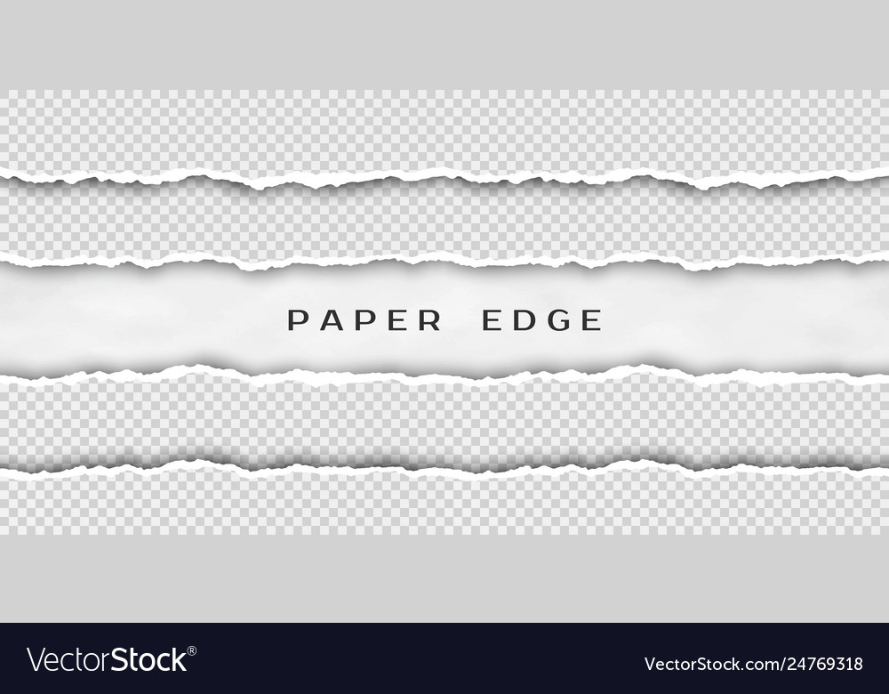 Paper tear border set torn horizontal seamless