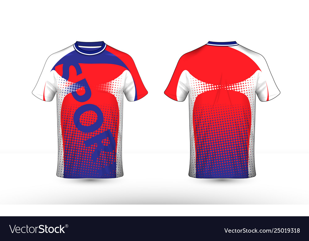 Red white and blue layout e-sport t-shirt design
