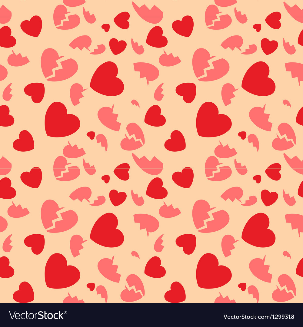 Seamless pattern with hearts and the broken hearts vector image