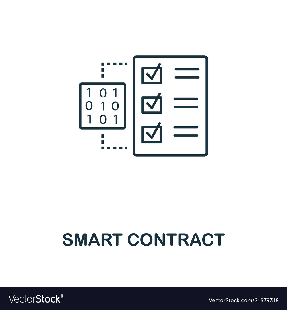 Smart contract outline icon monochrome style