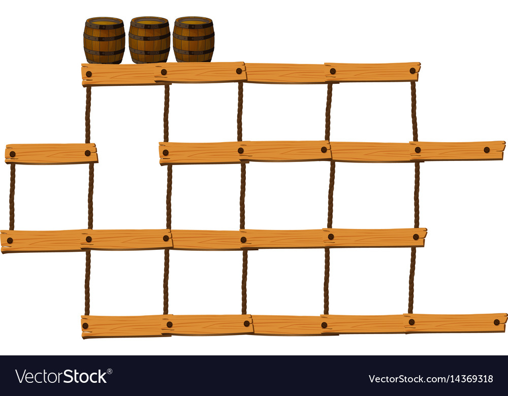 Wooden bars and ropes with barrels on top