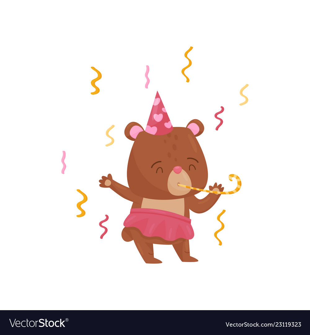 Adorable girl bear character in birthday hat