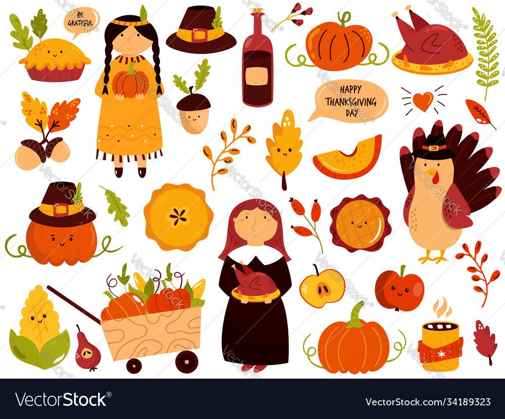 Big set thanksgiving symbols turkey pie
