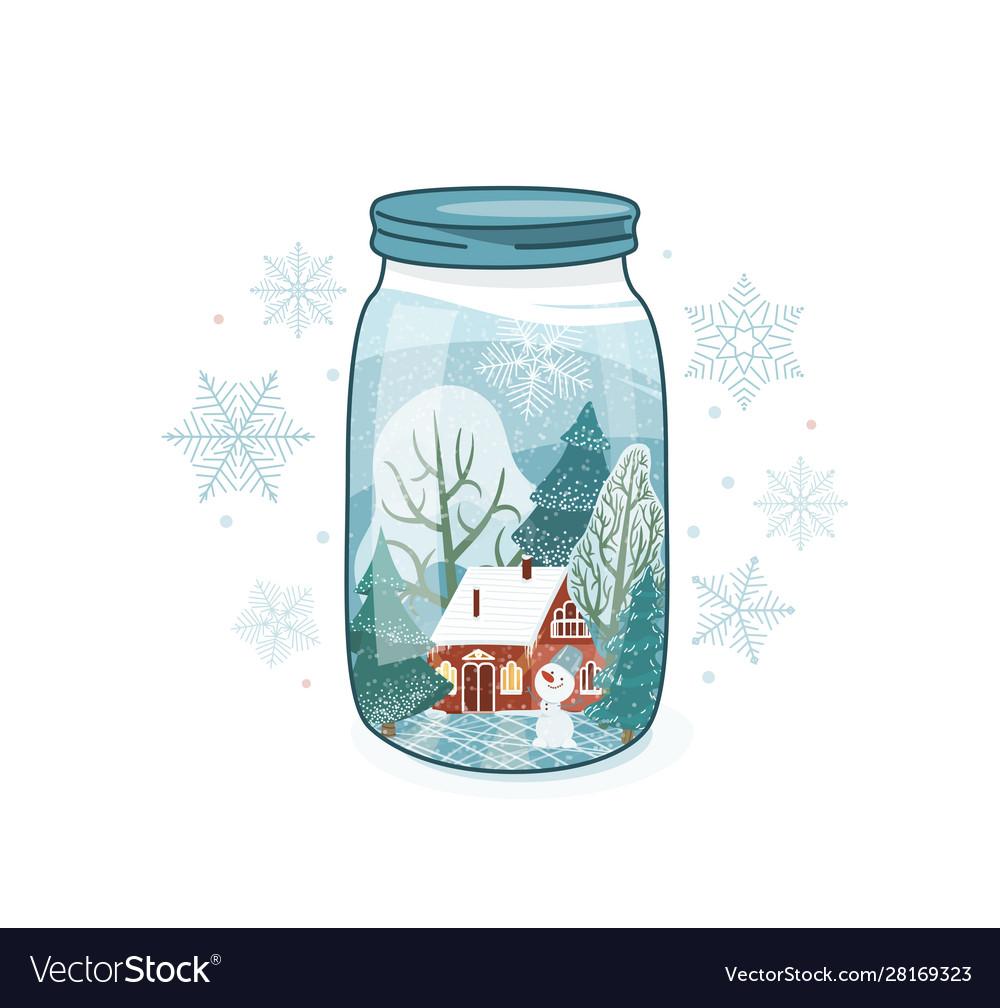 Cute winter close lid glass