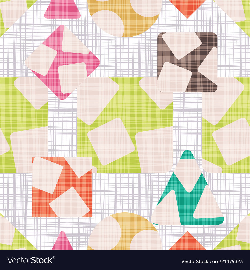 Fabric with geometric shapes colorful wallpaper Vector Image