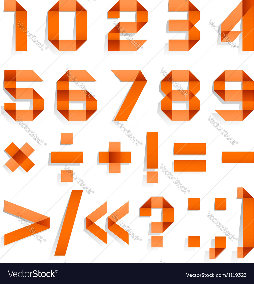 Font folded from colored paper - Arabic numerals vector image
