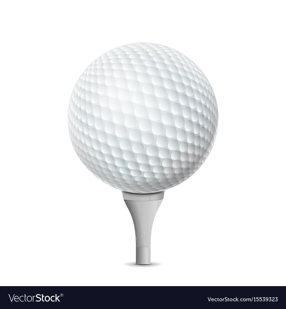 golf ball on white tee realistic royalty free vector image