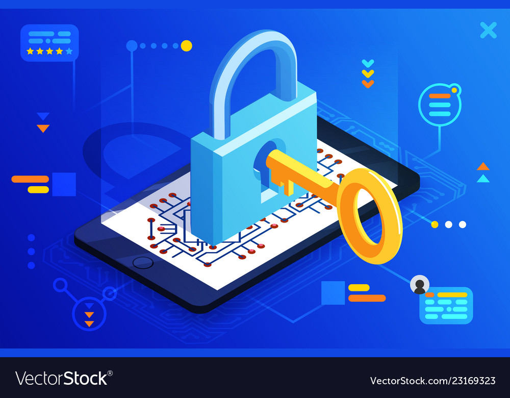 Mobile web security smartphone access isometric 3d