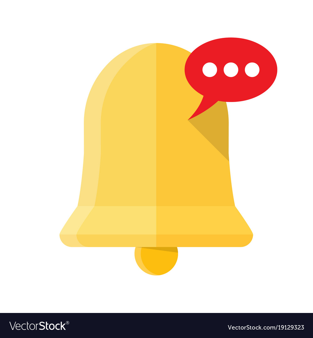 New notification icon hand bell sign isolated on
