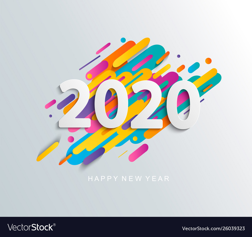 New year 2020 card on modern motion background