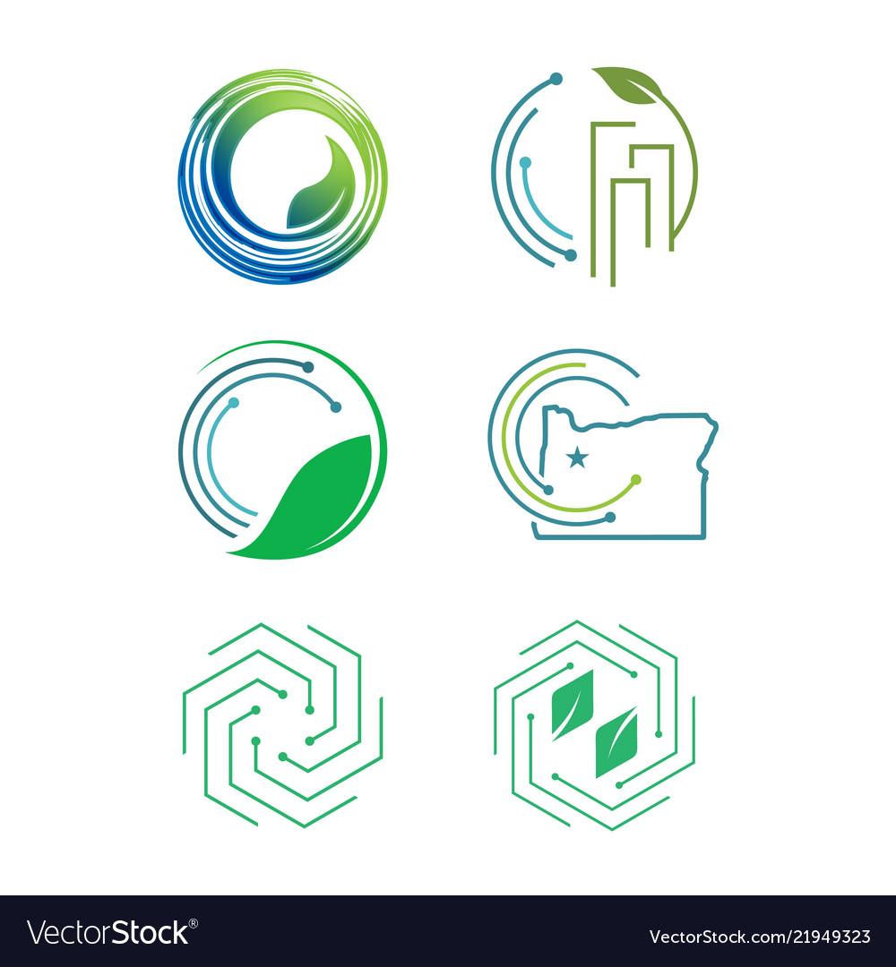 Set of modern eco friendly icon