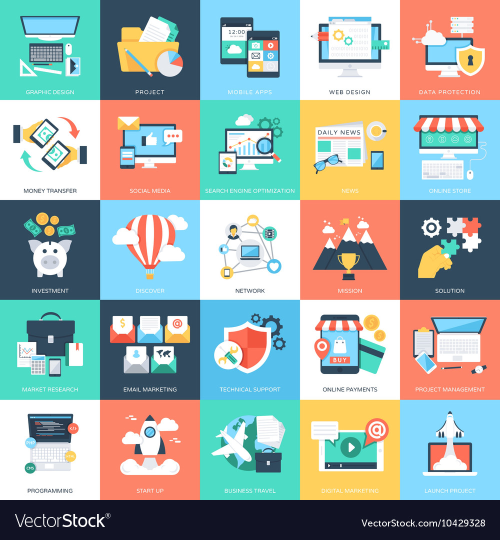 Business Concepts Icons 1 vector image