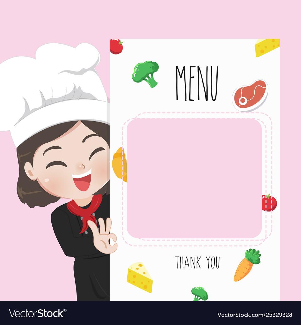 Chef menu cute girl