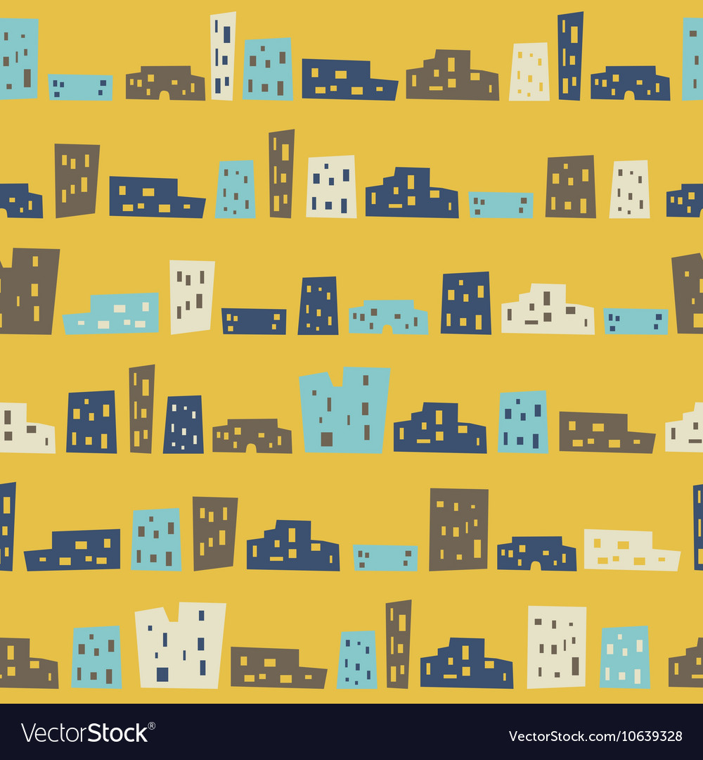 Funny houses seamless pattern