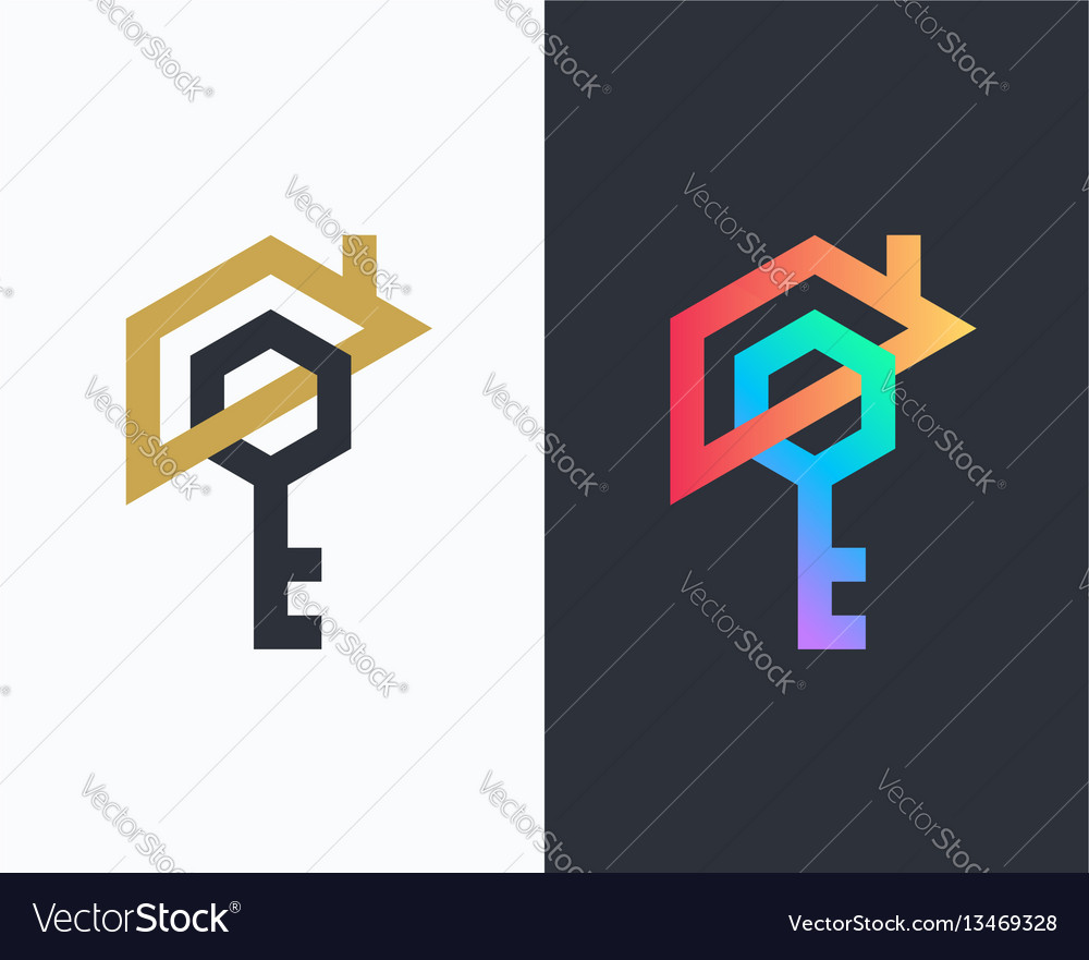 Geometrical house and key icon