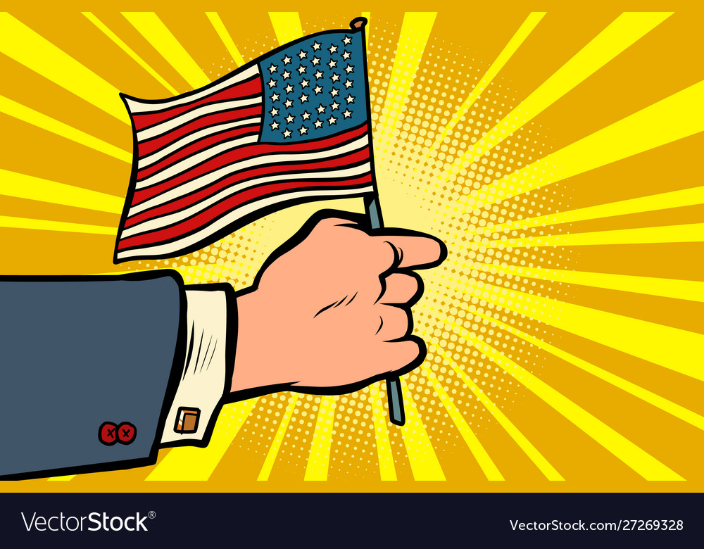 Hand with american flag independence day