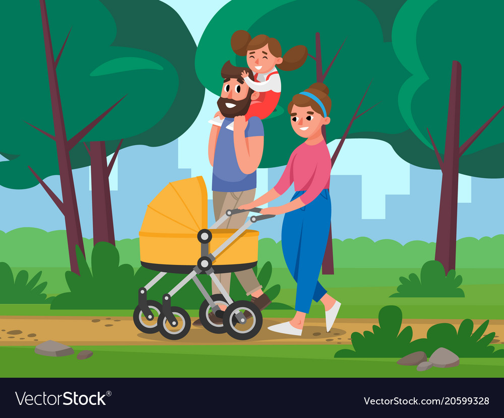 Happy family walking in the park on background of