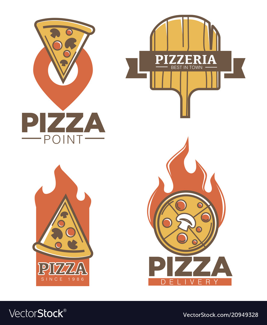 Italian pizzeria and pizza delivery promo emblems