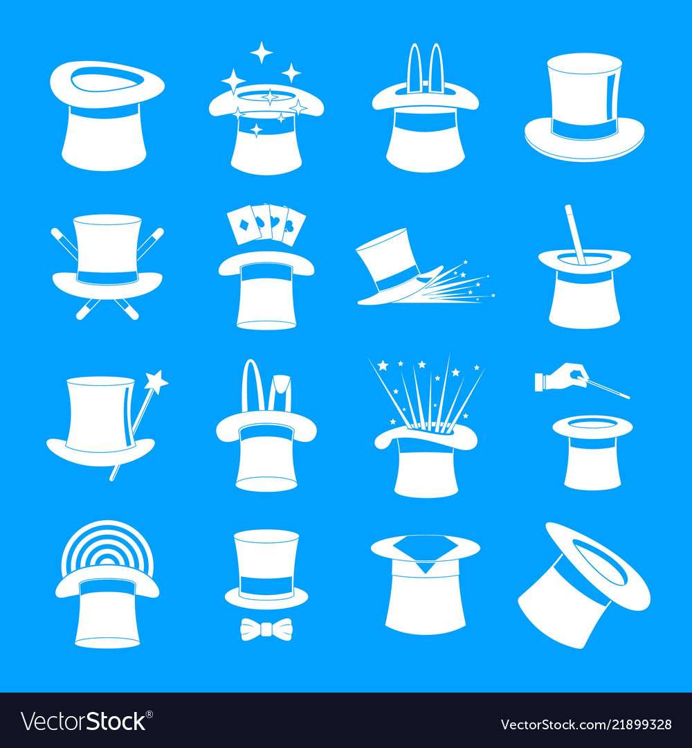 Magician hat sorcery icons set simple style