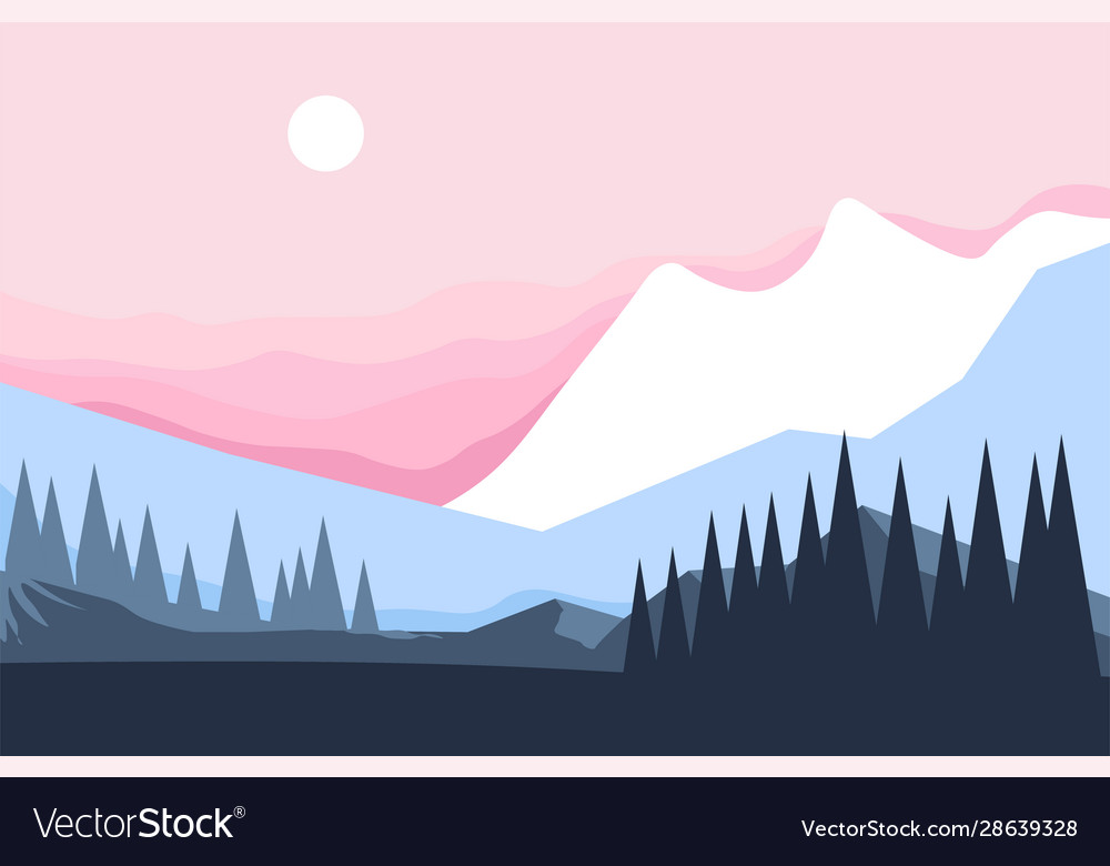 Mountain and forest winter landscape pine trees