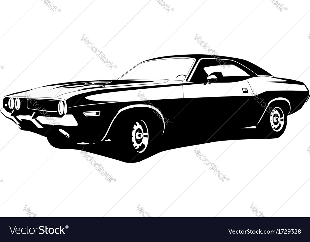 Muscle car profile vector image