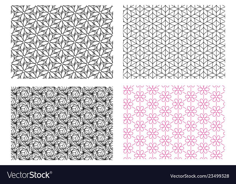 Seamless flower pattern in linear style