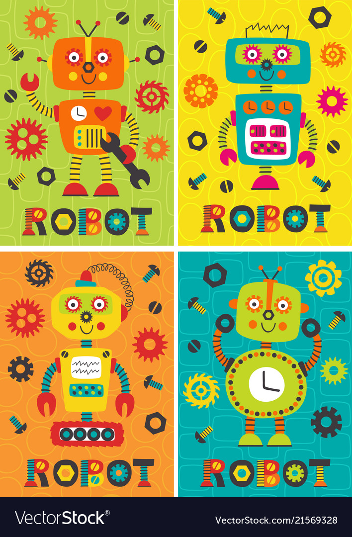 Set of posters with robots part 1