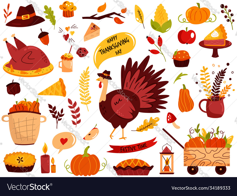 Big set thanksgiving symbols turkey pie