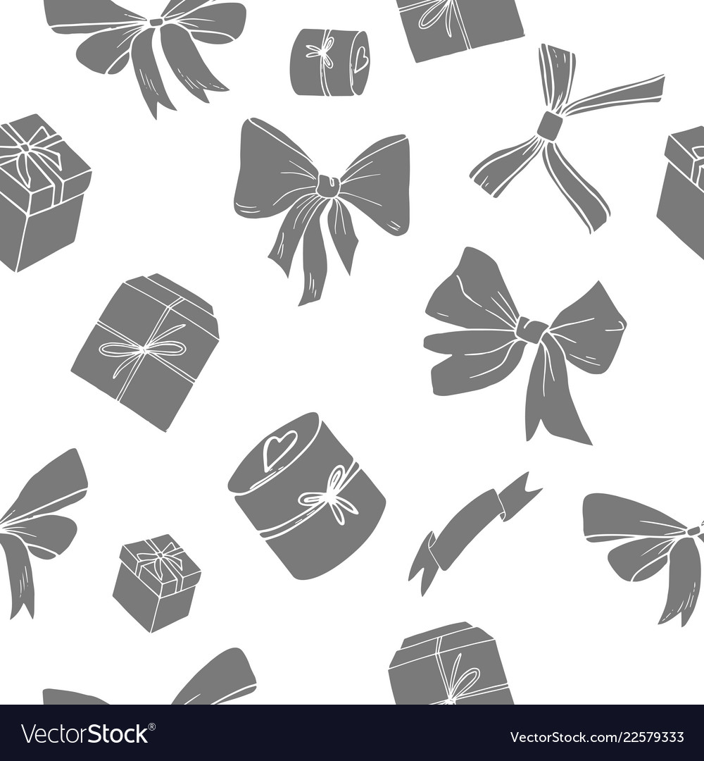 Bows and giftboxes seamless pattern
