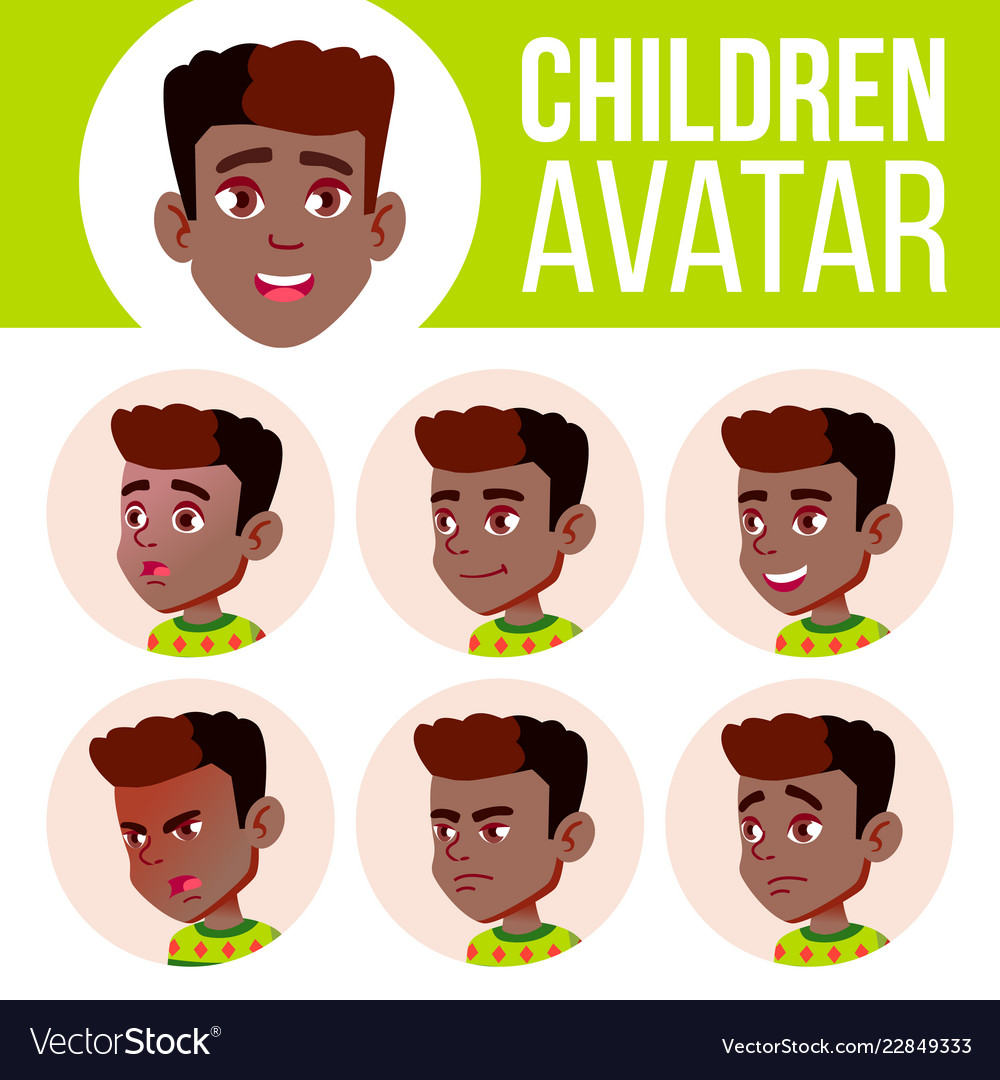 Boy avatar set kid black afro american