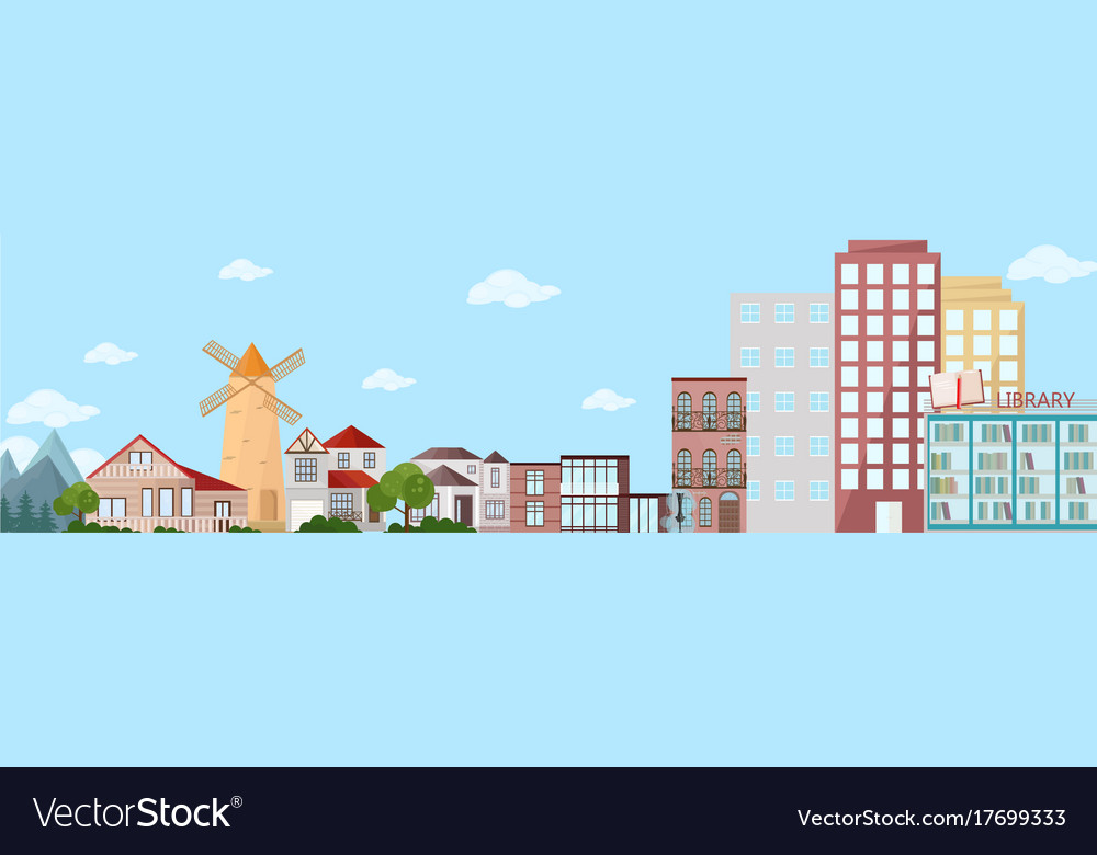 Cityscape view with buildings and mountains nature vector image