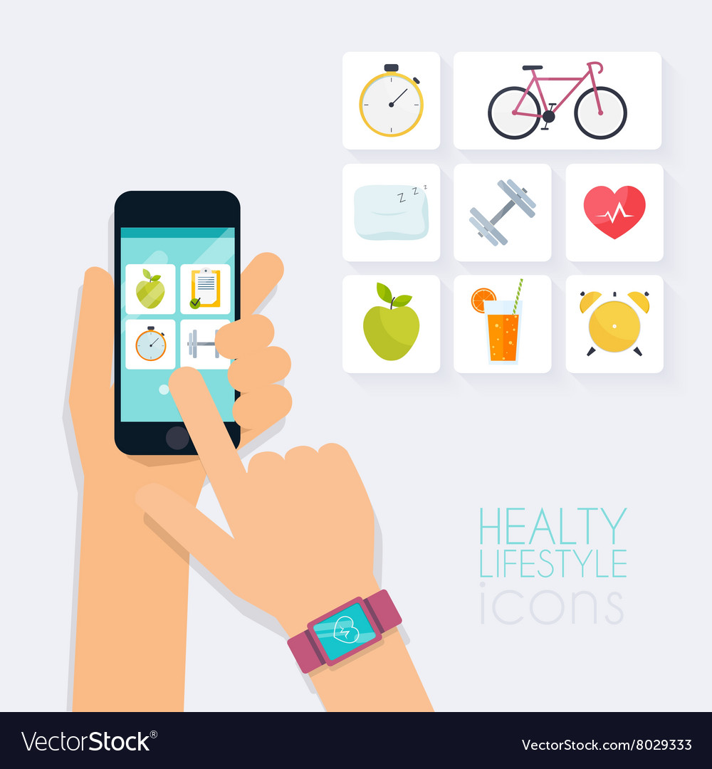 Fitness app concept on touchscreen Mobile phone