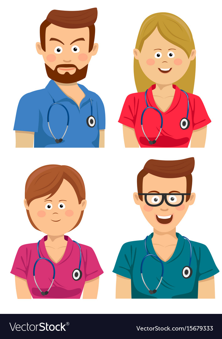 Hospital workers in multicolored scrubs