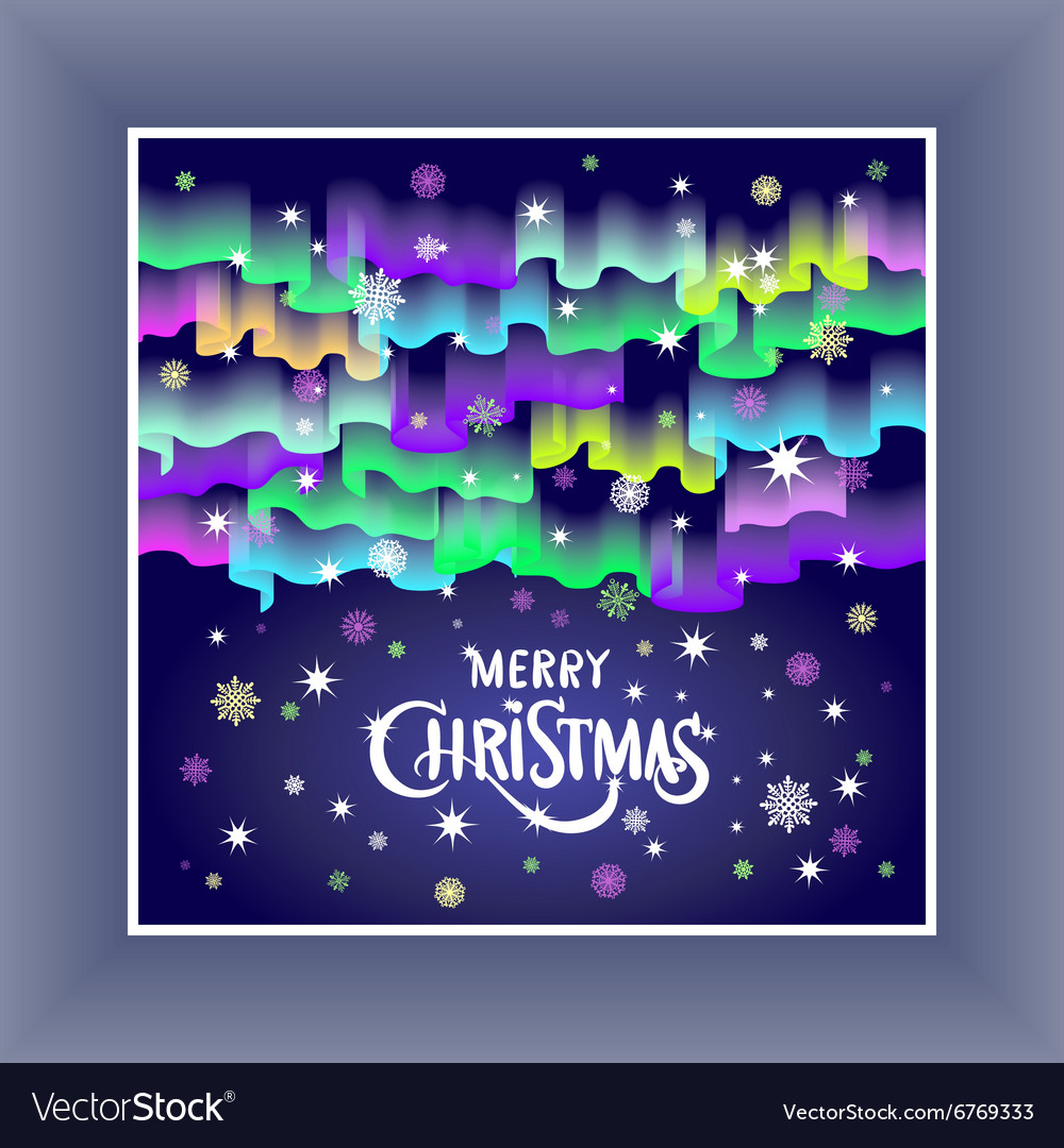 Merry Christmas in the form of Northern Lights in vector image