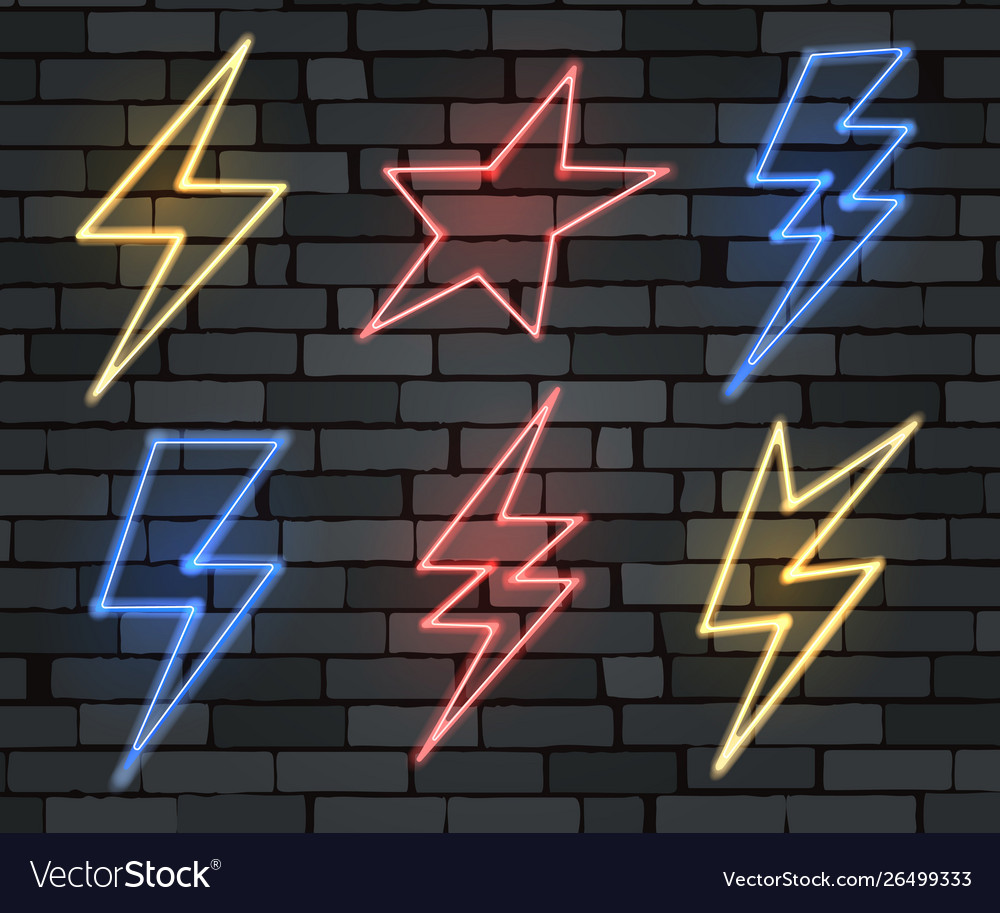 Neon electrical lightning sign set