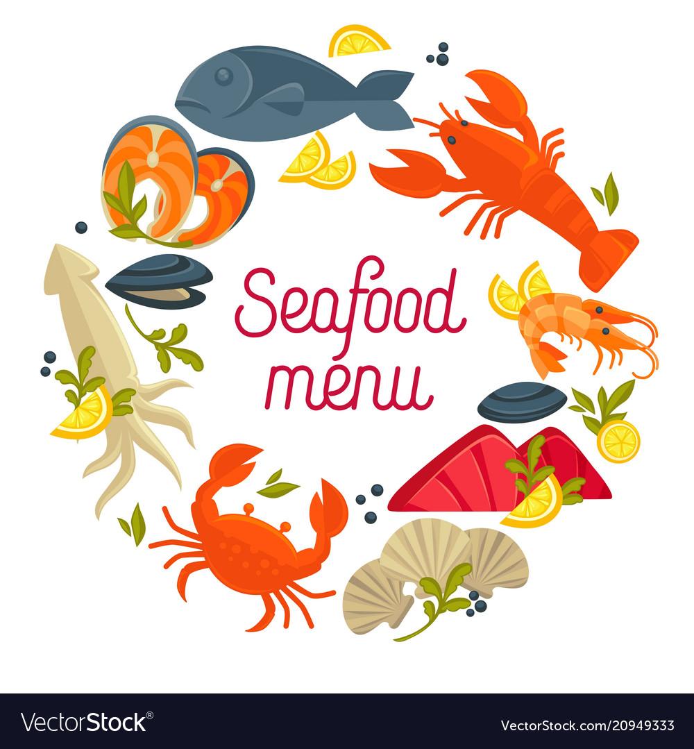 Seafood menu promo emblem with fresh delicious