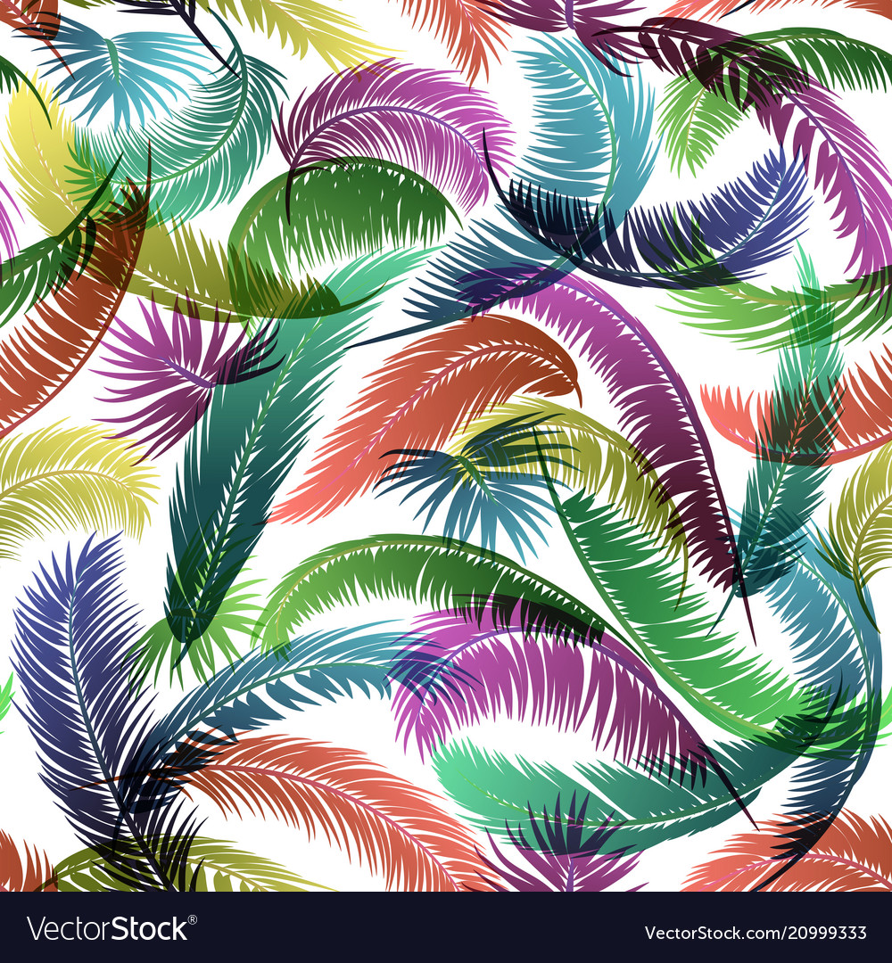 Seamless pattern palm leaves
