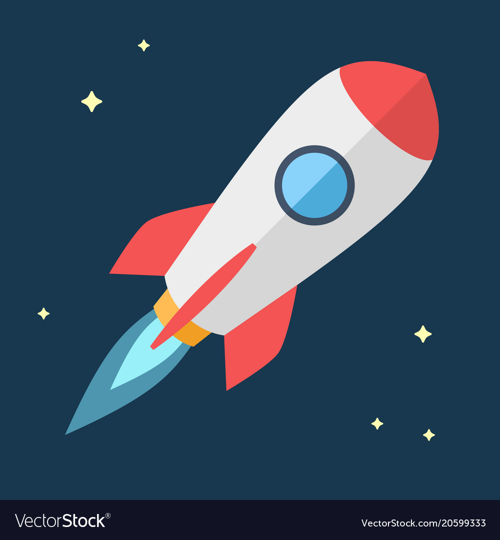 Simple Flying Rocket Spaceship Vector Image