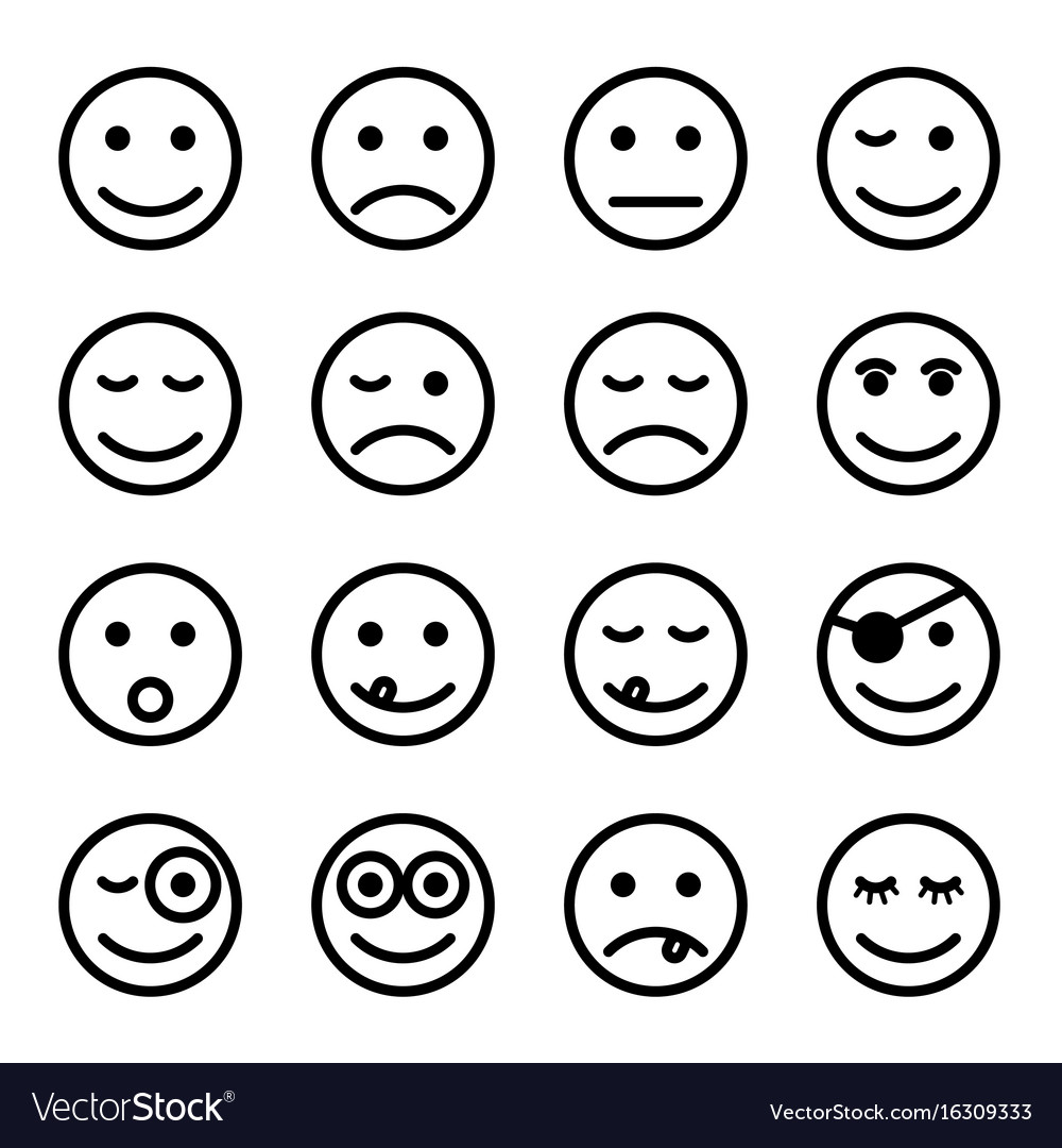 Smiley faces in black and white color set