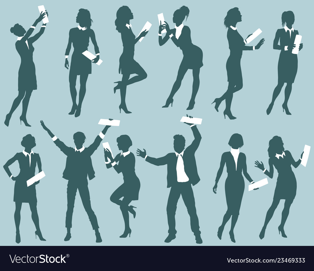 Successful business people silhouettes