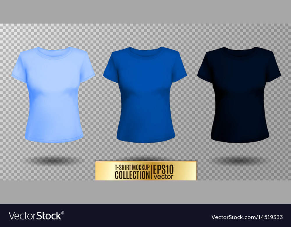 T-shirt template set for men and women realistic