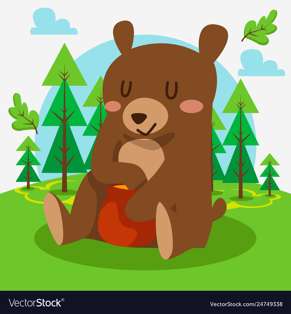 Cute bear sitting in forest