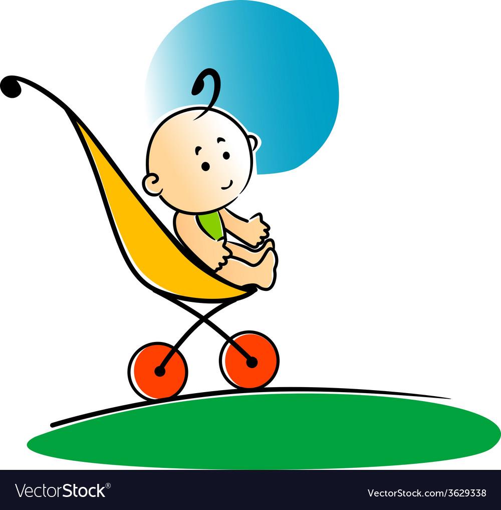 Cute little baby sitting in a stroller