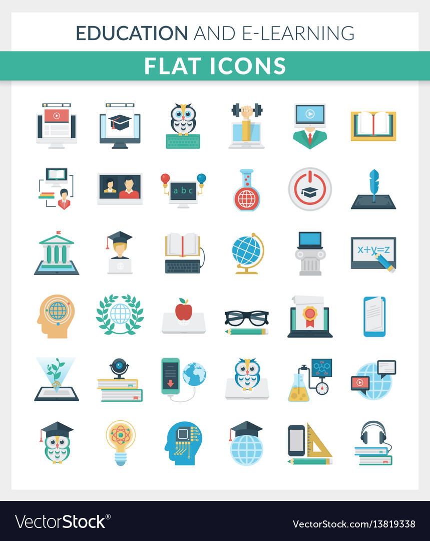 Education and e-learning round flat icons